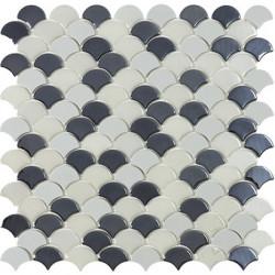 Mosaïque Soul écaille 3,6x2,9cm black mix (noir et blanc) brillant et mat sur trame nylon 32,4x31,7cm