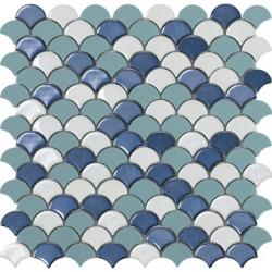 Mosaïque Soul écaille 3,6x2,9cm blue mix (bleu et blanc) brillant et mat sur trame nylon 32,4x31,7cm