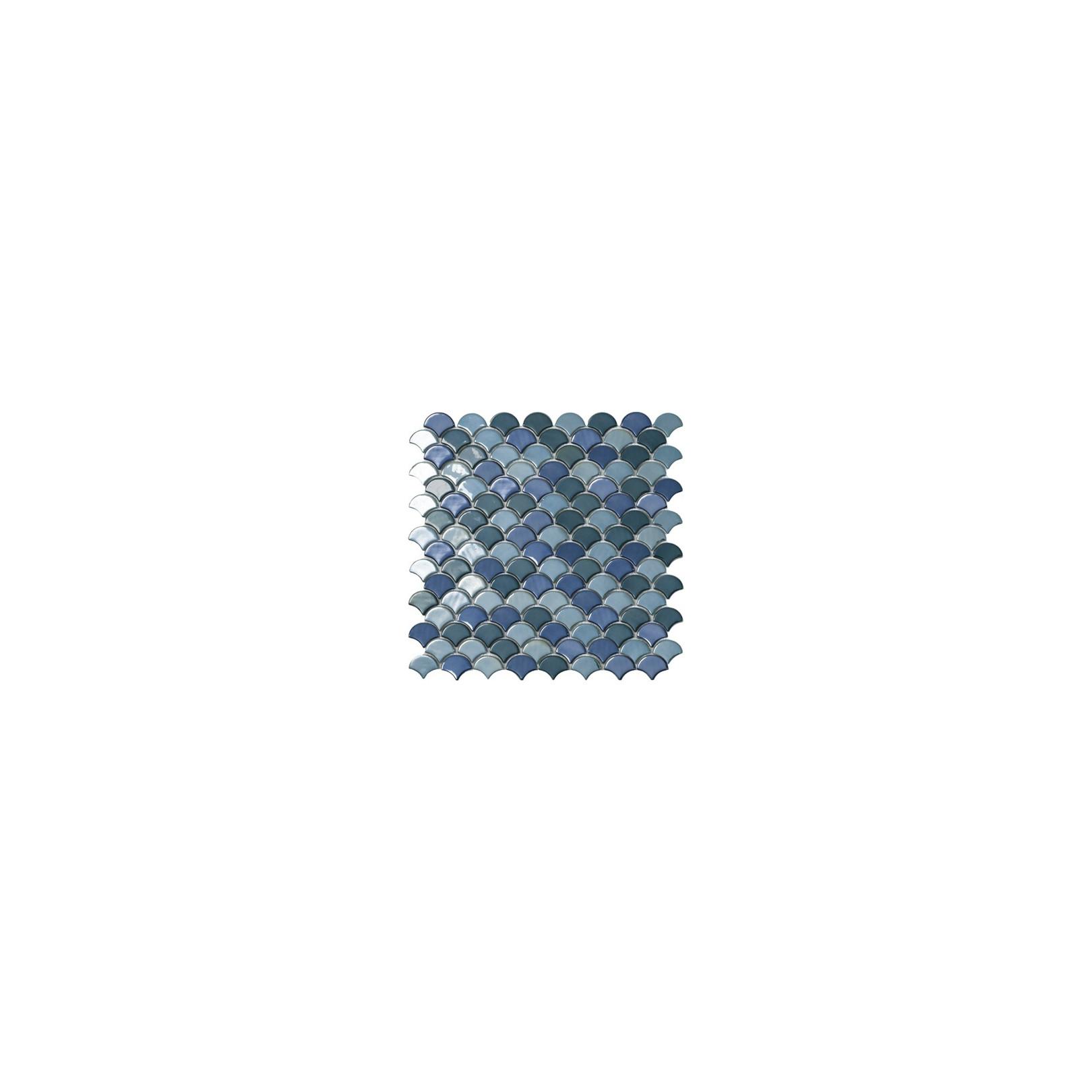Mosaïque Soul écaille 3,6x2,9cm green mix (vert et bleu) brillant sur trame nylon 32,4x31,7cm