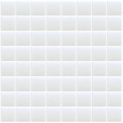 Mosaïque Unicolor hexagone 3,8x3,8cm blanc103 mat ou brillant ou antidérapant sur trame nylon 32x32cm