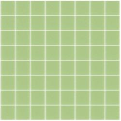 Mosaïque Unicolor carré 3,8x3,8cm vert anis 115 mat ou brillant ou antidérapant sur trame nylon 32x32cm