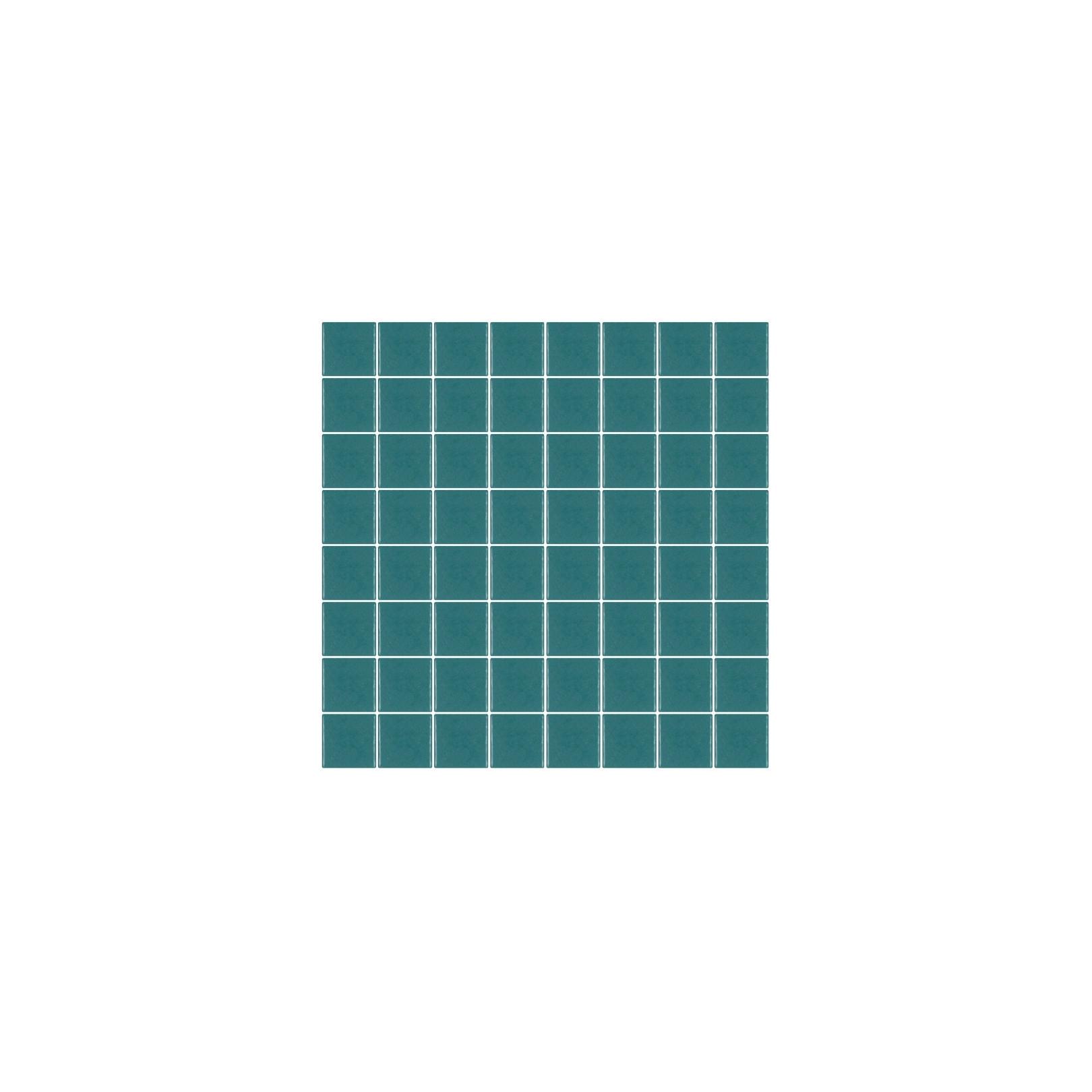 Mosaïque Unicolor carré 3,8x3,8cm bleu canard 127 mat ou brillant ou antidérapant sur trame nylon 32x32cm