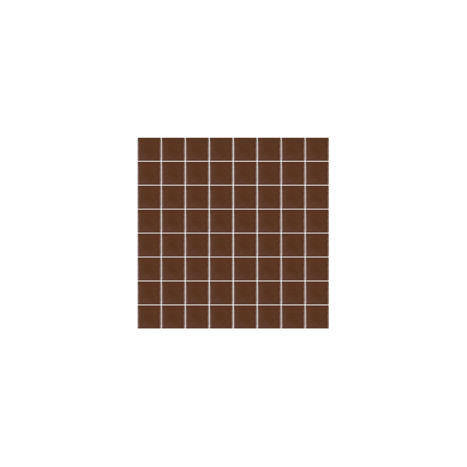 Mosaïque Unicolor carré 3,8x3,8cm marron 210 mat ou brillant ou antidérapant sur trame nylon 32x32cm