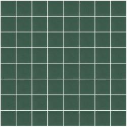 Mosaïque Unicolor carré 3,8x3,8cm 220 vert foncé mat ou brillant ou antidérapant sur trame nylon 32x32cm
