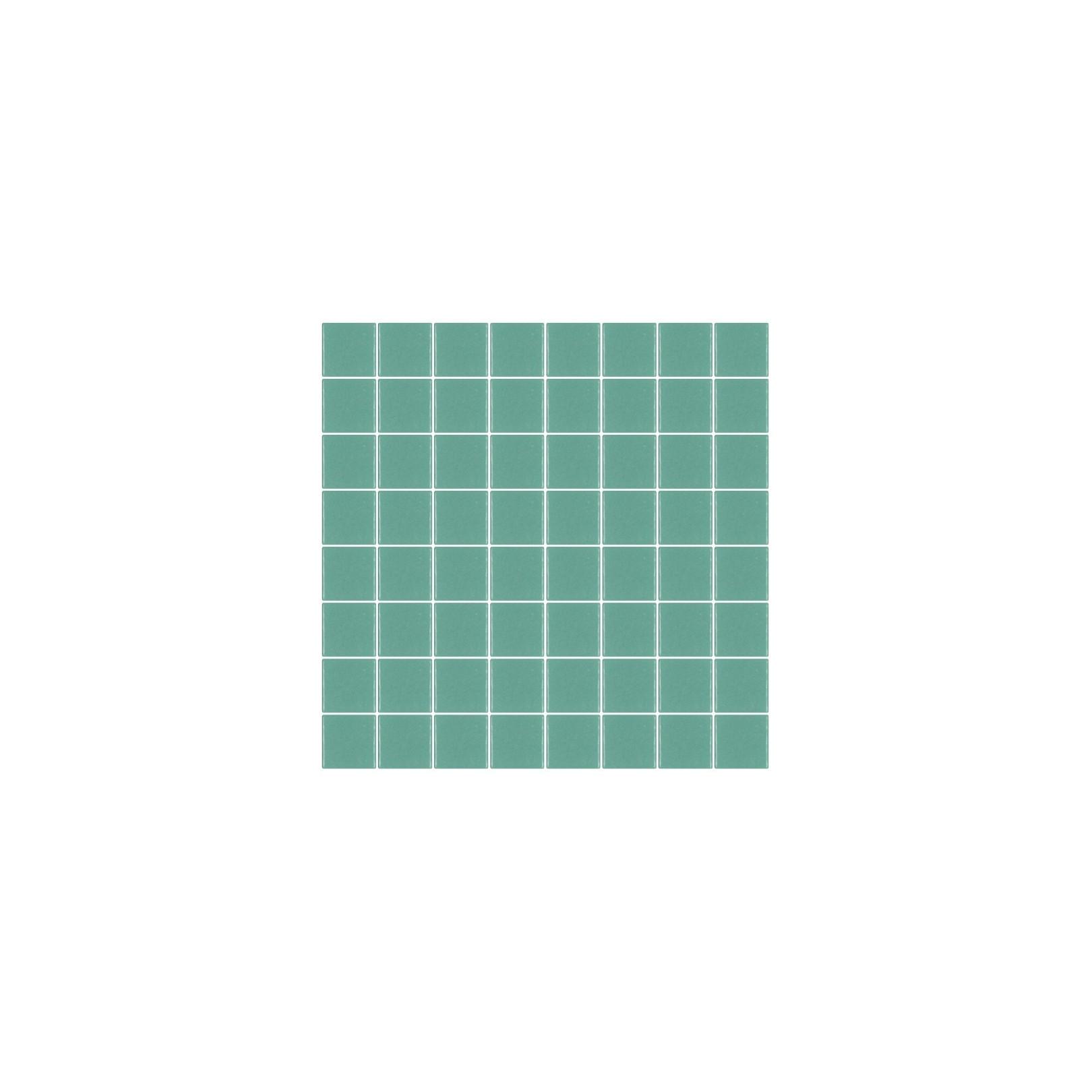 Mosaïque Unicolor carré 3,8x3,8cm 220 turquoise 222 mat ou brillant ou antidérapant sur trame nylon 32x32cm