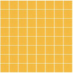 Mosaïque Unicolor carré 3,8x3,8cm jaune 231mat ou brillant ou antidérapant sur trame nylon 32x32cm
