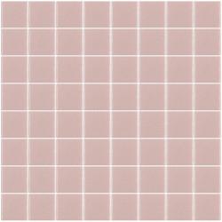 Mosaïque Unicolor carré 3,8x3,8cm 255 rose pastel mat ou brillant ou antidérapant sur trame nylon 32x32cm