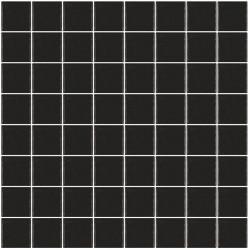Mosaïque Unicolor carré 3,8x3,8cm noir 101 mat ou brillant ou antidérapant sur trame nylon 32x32cm