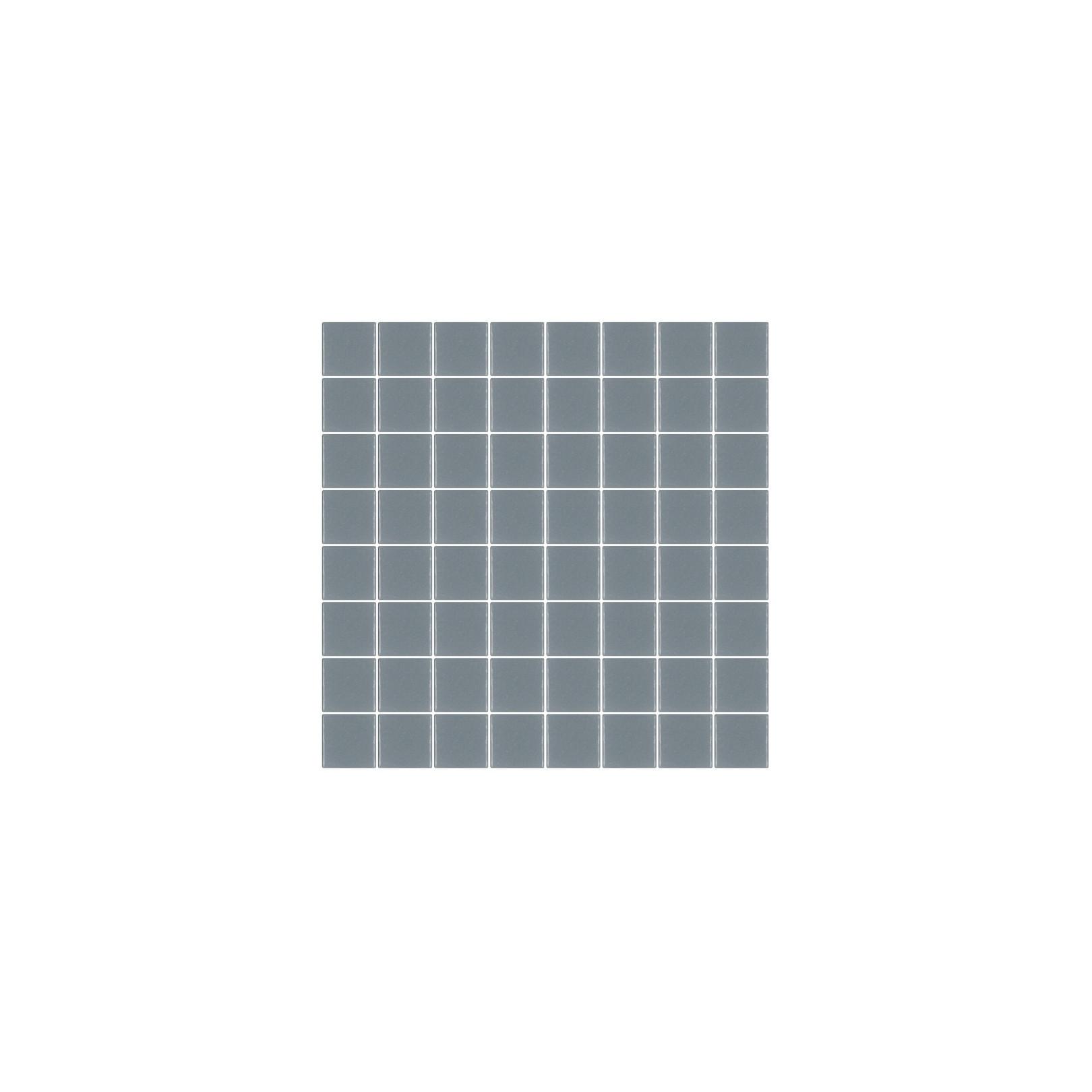 Mosaïque Unicolor carré 3,8x3,8cm 317 gris moyen mat ou brillant ou antidérapant sur trame nylon 32x32cm