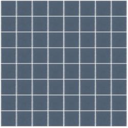 Mosaïque Unicolor carré 3,8x3,8cm 318 bleu militaire mat ou brillant ou antidérapant sur trame nylon 32x32cm