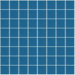 Mosaïque Unicolor carré 3,8x3,8cm 240 bleu mat ou brillant ou antidérapant sur trame nylon 32x32cm