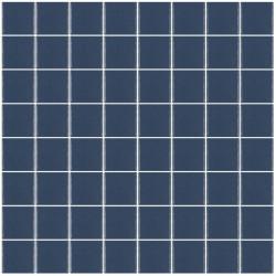 Mosaïque Unicolor carré 3,8x3,8cm 319 bleu foncé mat ou brillant ou antidérapant sur trame nylon 32x32cm