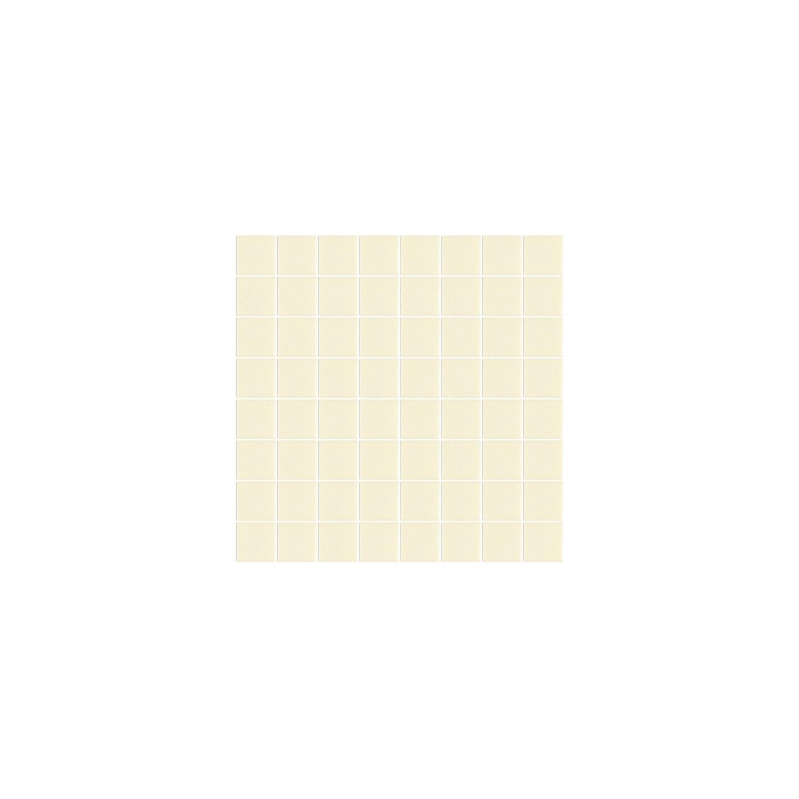 Mosaïque Unicolor carré 3,8x3,8cm 330 blanc cassé mat ou brillant ou antidérapant sur trame nylon 32x32cm