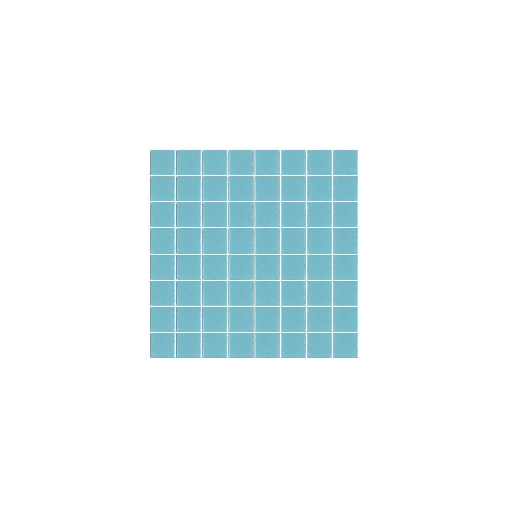 Mosaïque Unicolor carré 3,8x3,8cm 335 bleu piscine mat ou brillant ou antidérapant sur trame nylon 32x32cm
