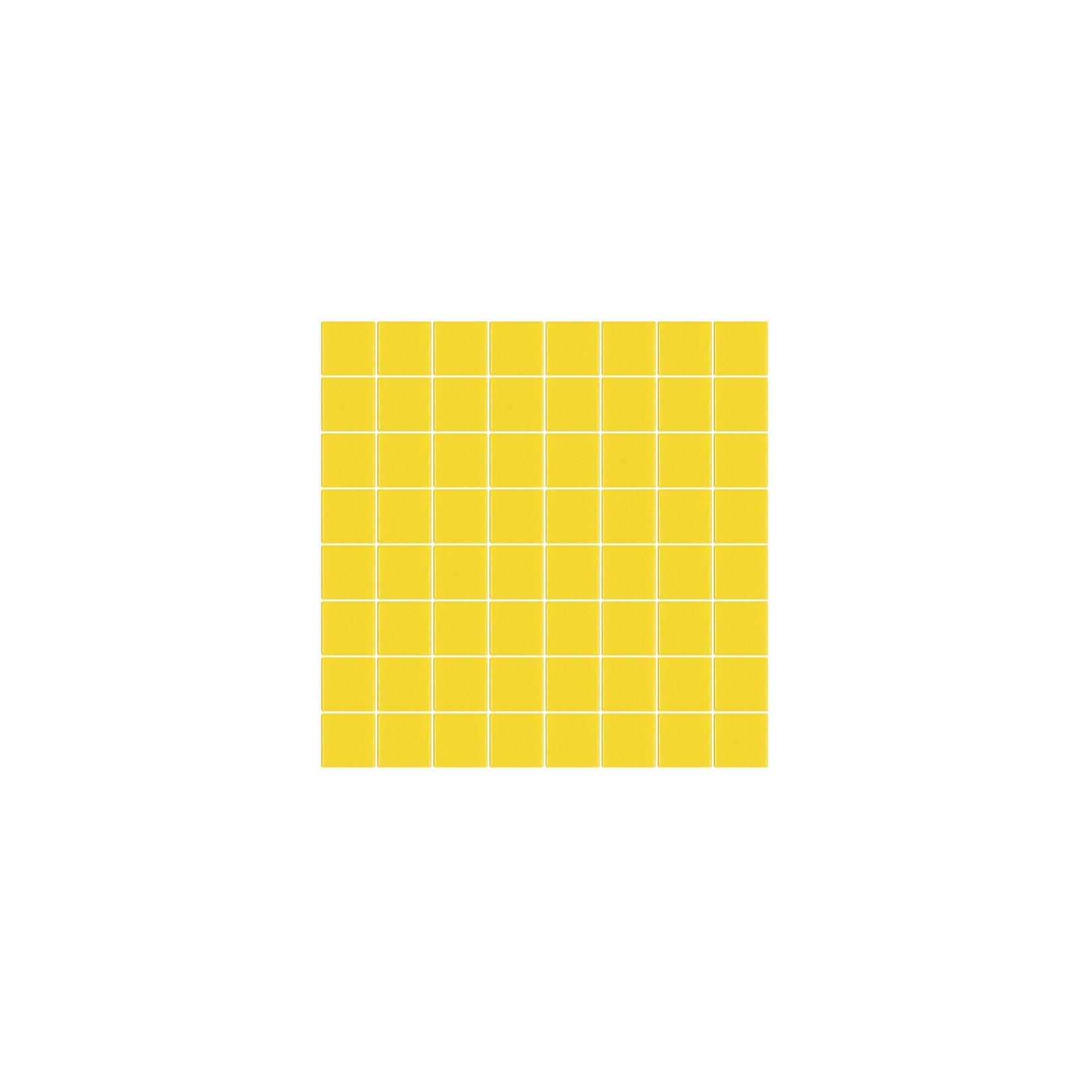 Mosaïque Unicolor carré 3,8x3,8cm 302 jaune citron mat ou brillant ou antidérapant sur trame nylon 32x32cm