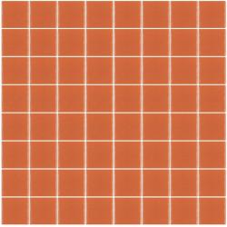 Mosaïque Unicolor carré 3,8x3,8cm 304 orange mat ou brillant ou antidérapant sur trame nylon 32x32cm