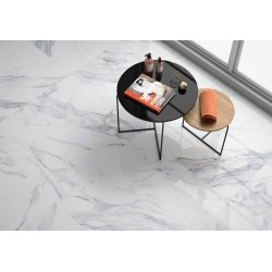 Carrelage grès cérame Dante effet marbre blanc veiné gris