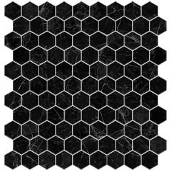 Mosaïque hexagone 3,5x3,5cm Supreme Nero Marquina noir veiné blanc mat sur trame nylon 32,4x31,7cm