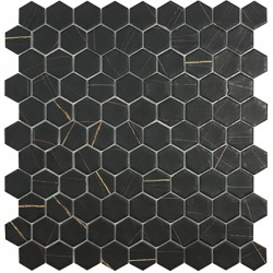 Mosaïque hexagone 3,5x3,5cm Supreme Nero Sahara noir veiné or et gris mat sur trame nylon 32,4x31,7cm