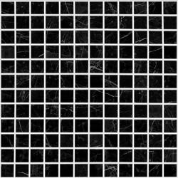 Mosaïque 2,5x2,5cm Supreme Nero Marquina noir veiné blanc mat sur trame nylon 31,7x31,7cm