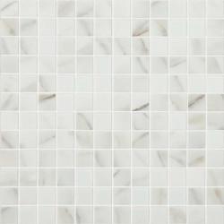 Mosaïque 2,5x2,5cm Marbles Calacatta Grey mat sur trame nylon 31,7x31,7cm